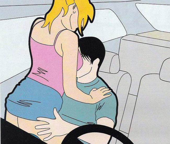 Поза наездницы в машине